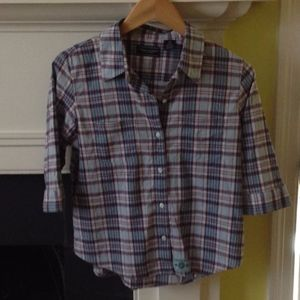 Vintage American Eagle Button Up 5/8Sleeve Plaid M